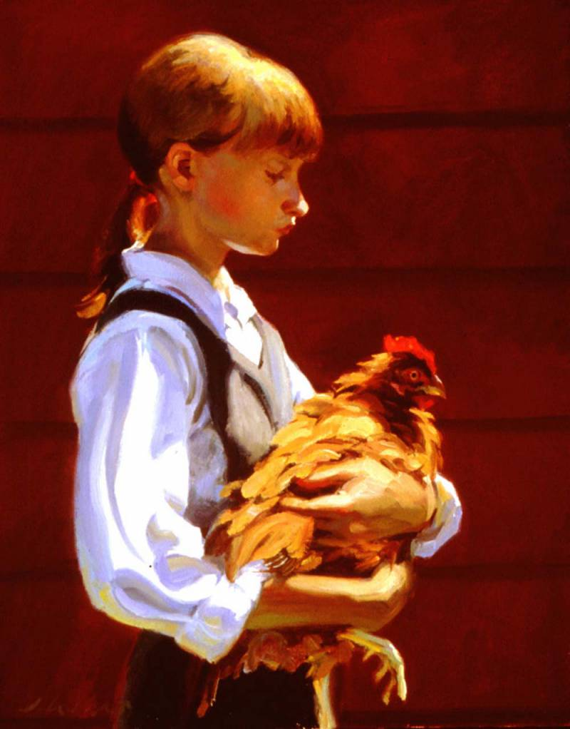 Larson_Jeffrey_1999_Girl_With_Chicken_16by20in.jpg
