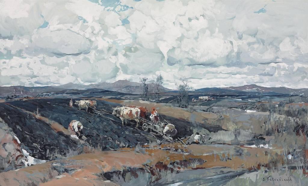 StepanKolesnikov1879-1955_Openfields_Gouacheonpaperlaiddownonboard_38_5x62_5cm.jpg